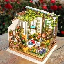 DIY Wooden Sunny Garden Miniature Dollhouse 3D LED Mini Kit With Furniture Light Creative Christmas Gift