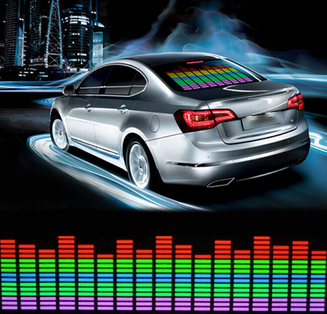 Light Pretty Sound Rhythm gift Glow Car Music Sticker LED Light Lemon Best Activated EQ EL Sheet Equalizer Flash Panel car light 1pcs 2pcs 45x11cm car music rhythm led flash light lamp sound activated equalizer car light panel lamp 1219