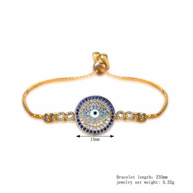 Simple Bracelet Gold Color Turkey Evil Eye Aaa Zircon Copper Women Fashion Jewelry Charm Bracelets Adjule