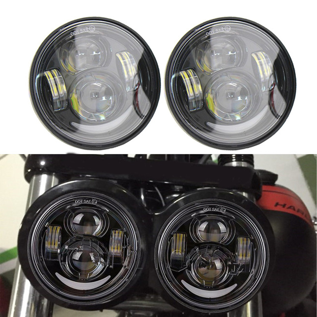 """2 Pcs Motorcycle 4.65 Inch moto Round Headlamps For Harley Dyna FXDF Model Driving Lamps 5"""" Fat Bob Projector LED Headlights"""