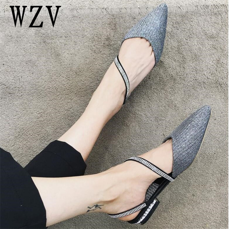 Korea 2018 Women pointed toe Flat Shoes Woman shiny diamond sexywomen shoes Hot Sale New Super beautiful Flats B379 fashion women shoes woman flats high quality comfortable pointed toe rubber women sweet flats hot sale shoes size 35 40
