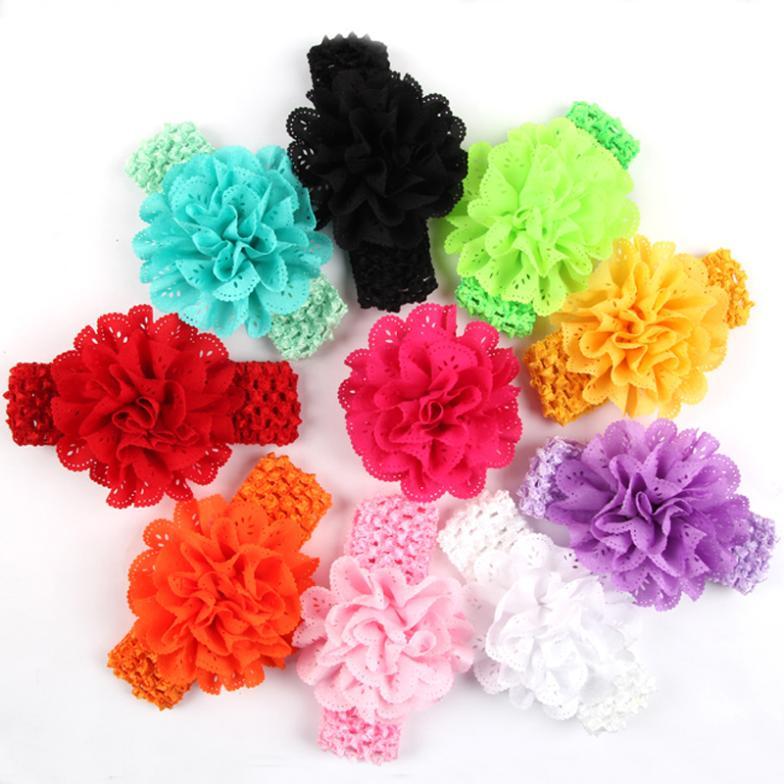 free shipping nice design handwork flower solid color mesh Headband Wide  hairband kids Girl Headbands hair Accessories 30 TOP-in Hair Accessories  from ... 006947fc4ef