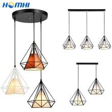 Luminarias Colgante para techo de comedor, accesorio de cocina en línea, 2 y 3 cabezas, hierro negro, marrón, diamante, lámpara colgante sencilla E27