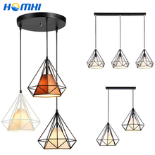 luminarias ceiling dining room kitchen fixture pendant on line 2 3 heads Iron Black Brown Diamond Simple E27 hanging lamp