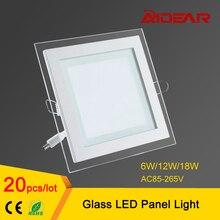 Cristal Llevó el Panel Downlight 6 W 12 W 18 W Cuadrado LED de Techo Luz Empotrada En el envío libre