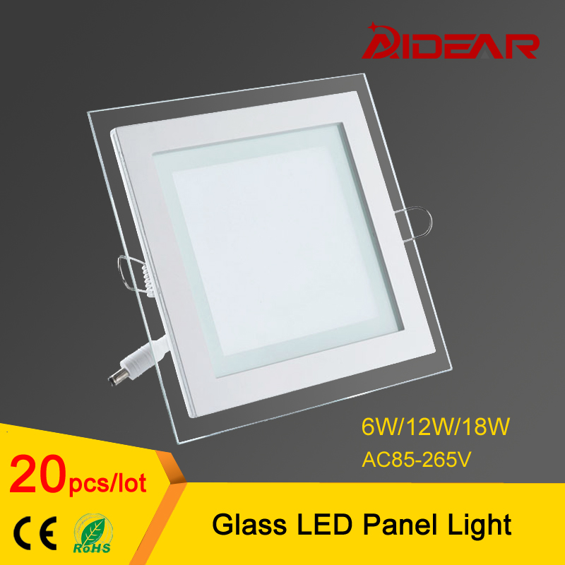 Glass Led Panel Downlight 6W 12W 18W Square LED Ceiling Recessed Light free shipping ...