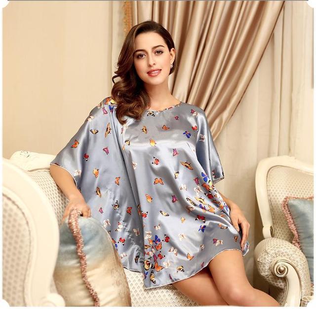 Camisola de Seda Sexy Roupão De Banho Das Mulheres de Seda Leite Especial Sono Salão Feminino Pijamas Plus Size Camisa Top Sono Pijama