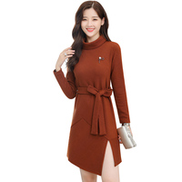 Women Bandage Sweater Dress 2018 New Vintage Sexy Turtlenck Mini Dresses Plus Size Korean Loose Lady Winter Dress Vestidos