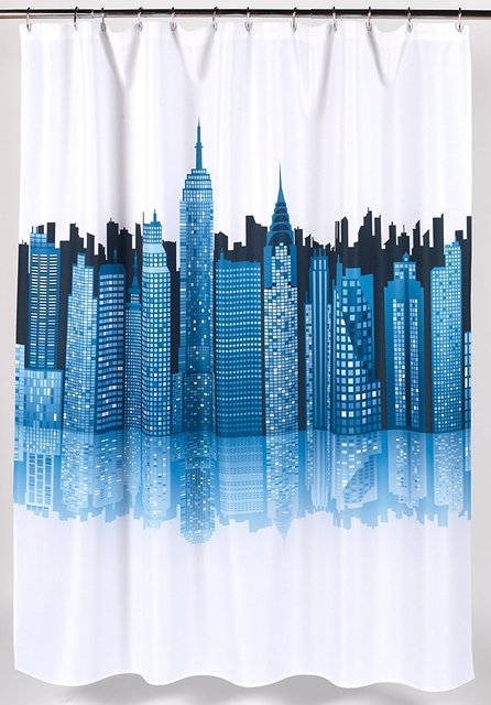 Cityscape Fabric Shower Curtain Blue White Waterproof And Frabic With Hooks