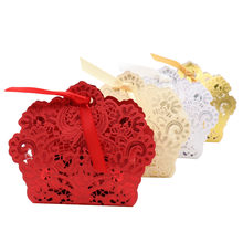50pcs paper flower Candy Box Chocolates Cookie Bags Gift Boxes for Baby shower birthday party Favors with Ribbon Gold/Red/White(China)