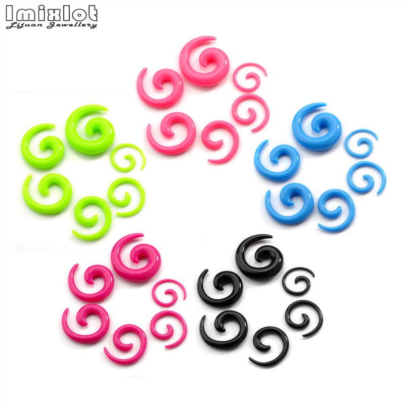 Imixlot 12 pièces acrylique spirale oreille jauges oreille Tapers étirement bouchons et Tunnel expanseurs corps Piercing bijoux 2-8mm