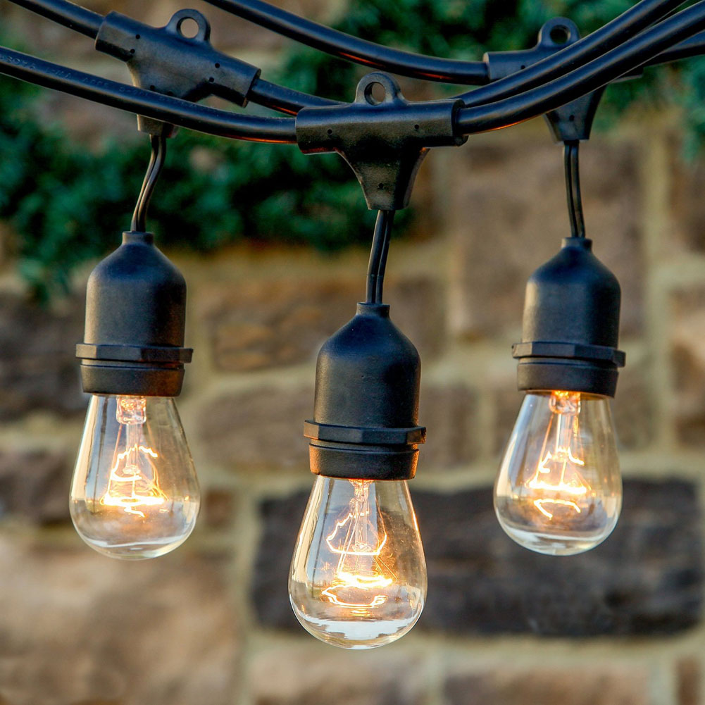 AC 100 120V 9m Vintage Outdoor Backyard Patio Globe Copper String Lights  Black Cord Clear Glass Bulbs Waterproof EUu0026US Plug