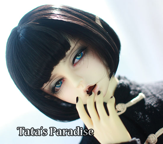 1/3  1/4  1/6 BJD/DD  doll  DIY High-Temperature  black short  straight   hair for  girls uncle 1 3 1 4 1 6 doll accessories for bjd sd bjd eyelashes for doll 1 pair tx 03