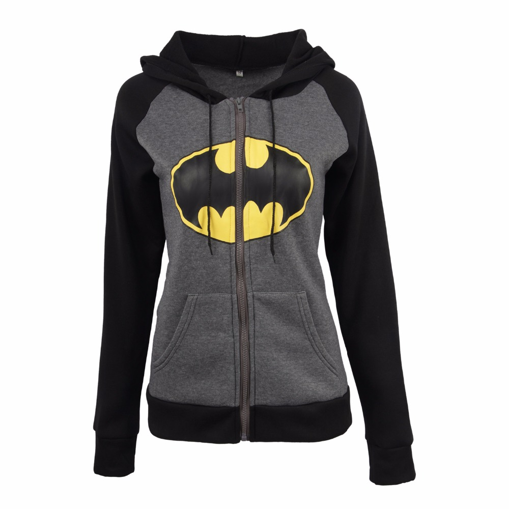 2018 Women's Hoodies Batman Printed Sweatshirts With Zipper Autumn Winter Female Casual Sweatshirt Women Hooded Tops Harajuku