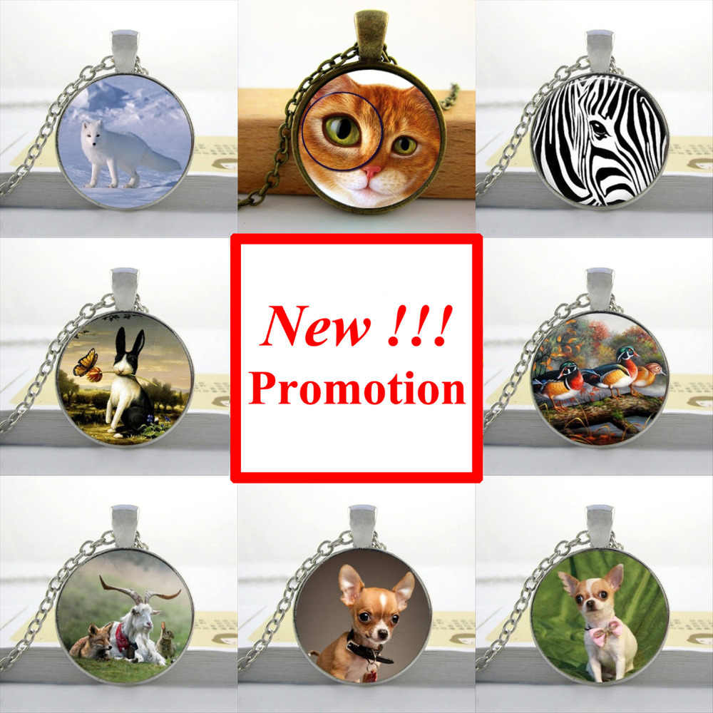 2017 New Fashion Round Glass Cabochon 25mm Glass Animal Necklace Dog Cat Jewelry Girls Glass Cabochon Necklace