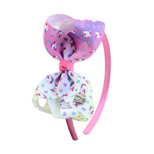 JoJo Siwa Hair Bows  Rainbow Unicorns and Stars Girls Boutique Grosgrain Ribbon Headband with Cheer Bow for
