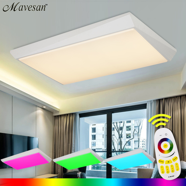 Modern led ceiling light rectangle with 36w 96w remote group modern led ceiling light rectangle with 36w 96w remote group controlled dimmable color changing lamp mozeypictures Choice Image