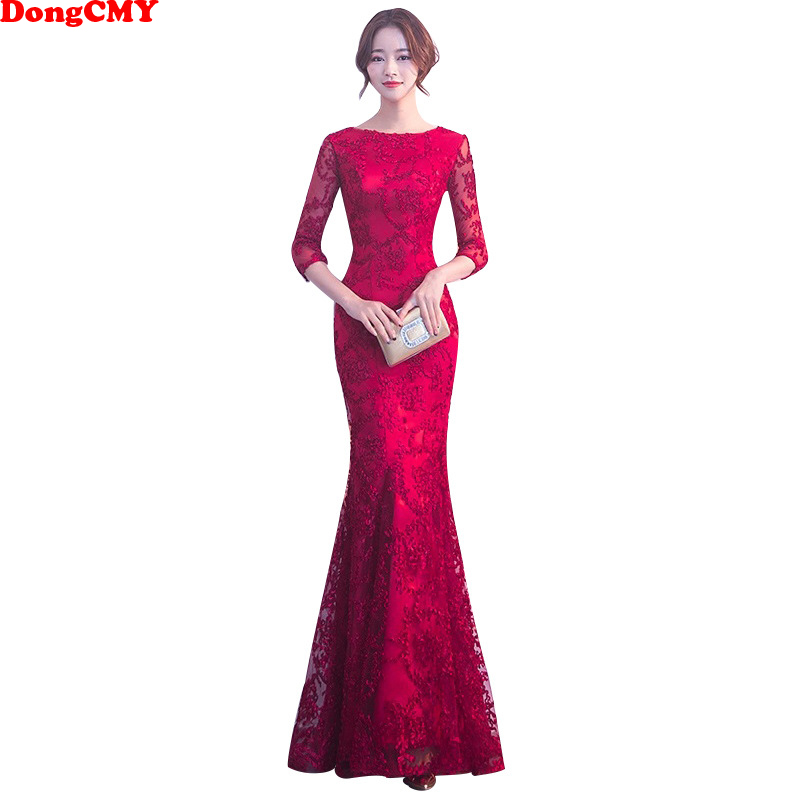 DongCMY Long Formal Sleeve Evening Dresses Burgund Color Vestido Plus Size Party Evens Gowns