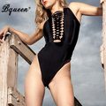 Bqueen 2017 New Metal Embelished Cross Strings Front Lace up Design Bandage Bodysuit Hollow Out