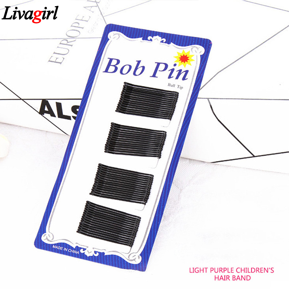 60Pcs/Set Women Lady Girl Black Metal Waved Hair Bobby Clip Salon Pins Grip Hairpin Barrette Hair Styling Accessories Tools