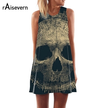 2018 New Skull Dress Women 3D Print Sleeveless Summer Mini Dress Boho Beach Club Party Dresses Casual A-Line Dress Dropship