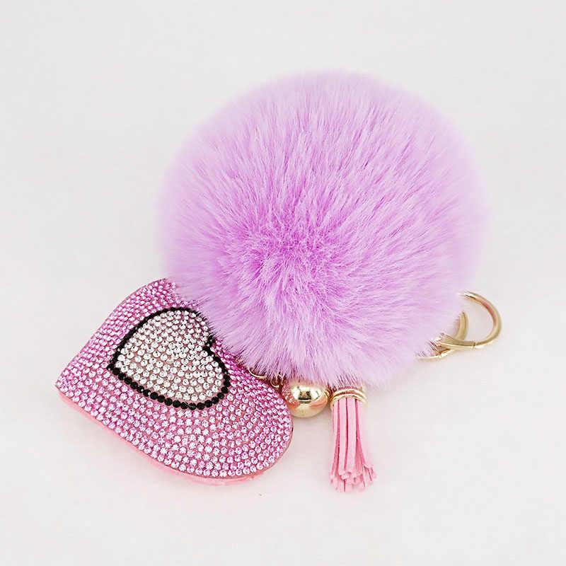 PomPom Keychains Rhinestone หัวใจผู้หญิงกระเป๋าพวงกุญแจ Handmade Accrssories Keyrings จี้ Charming แขวนตกแต่ง