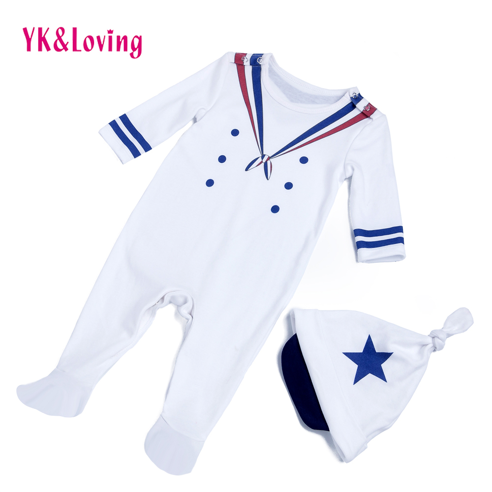 Toddler Baby Boy Bodysuits Vit Navy Sailor Uniforms Overalls Vinter / Fall Boys Suit Kostym Långärmad Infant Clothing Set