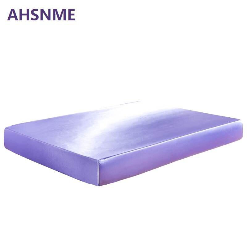 AHSNME 3/4 pcs Noir Gris Blanc Soie Ensemble de Literie Draps De Luxe literie Roi Reine Complet (Lit Matelas + taie d'oreiller + Feuilles)