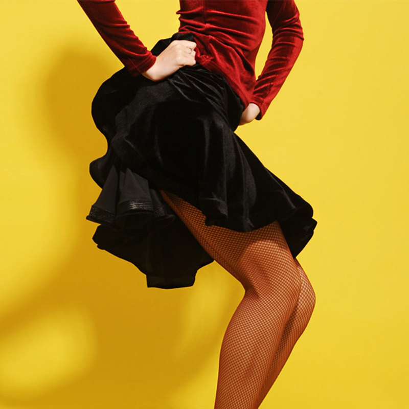 Jupe de danse latine noir velours poisson os jupes femmes Samba Flamengo compétition Performance porter des vêtements de danse latine DNV10454