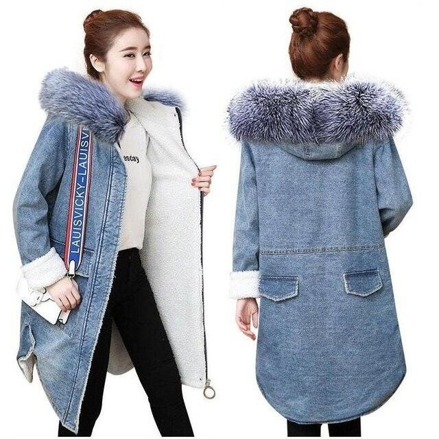 512199b5ea38 Winter Denim Jacket for Women 2018 New Female long Jean Jacket Loose Long  Sleeve Warm wool lining Coat Female casaco feminino