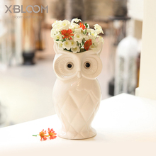 Owl statue vase flower pot animal owl decoration toy house furniture wedding table living room