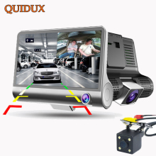 QUIDUX 3 Way Camera Car DVR Full HD 1080P Video Camera with Rear view 4 inch dashcam Night vision Motion Detect Camcorder