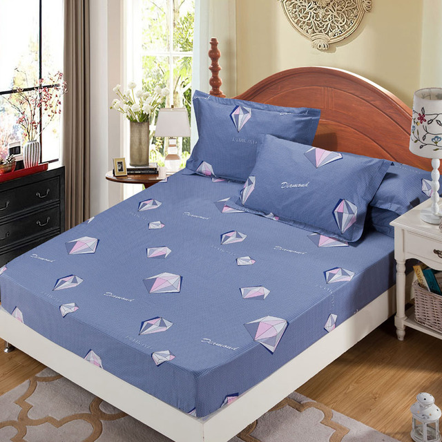 100% Cotton Modern Bedroom Bed Sheets Diamond Vintage Flowers Pattern  Bedspread Fitted Sheet Comfortable Sleep
