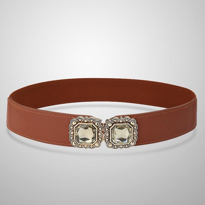 CATELLES  One Size Women's Wide Cummerbund Decoration  Dress Diamond Elastic Strap Female One Size