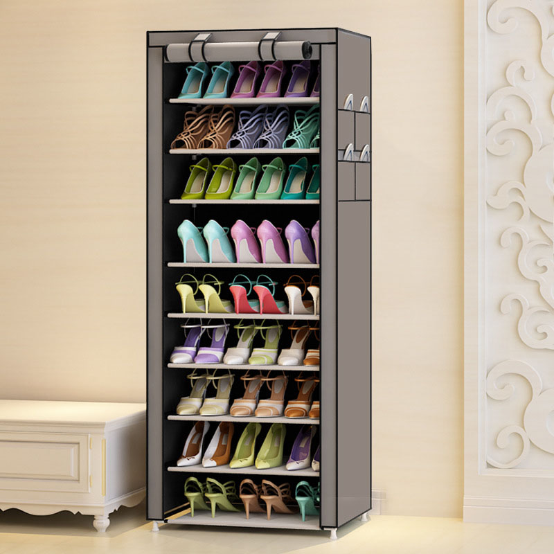 9 Tier Modern Shoe Shelves Oxford Cloth Shoe Stool Storage Cabinet Multi purpose Shoes Rack DIY Shoes Organizer Case Space Saver