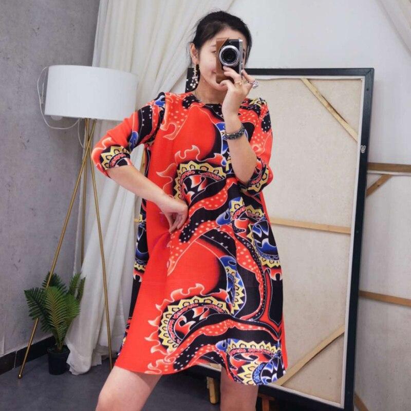 6bea38fc139dda Mode Printemps 4 Grande Robe 2019 Femmes 3 Été Chart Changpleat Imprimée  Taille cou Marée Miyak ...