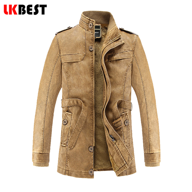 LKBEST 2017 New PU men's leahter jacket European and American winter male long coat cashmere winter retro mens overcoat (FY06)
