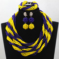 Fabulous Yellow and Blue Crystal Beads Strands Costume Necklace Set Women Party Twisted Beaded Jewelry Set Free Shipping WD279