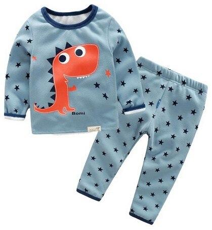 Лидер продаж 2017 г. Зимние брендовые для мальчиков и девочек пижамы наборы плюс бархат мультфильм Динозавр Детские теплые пижамы детская оде...