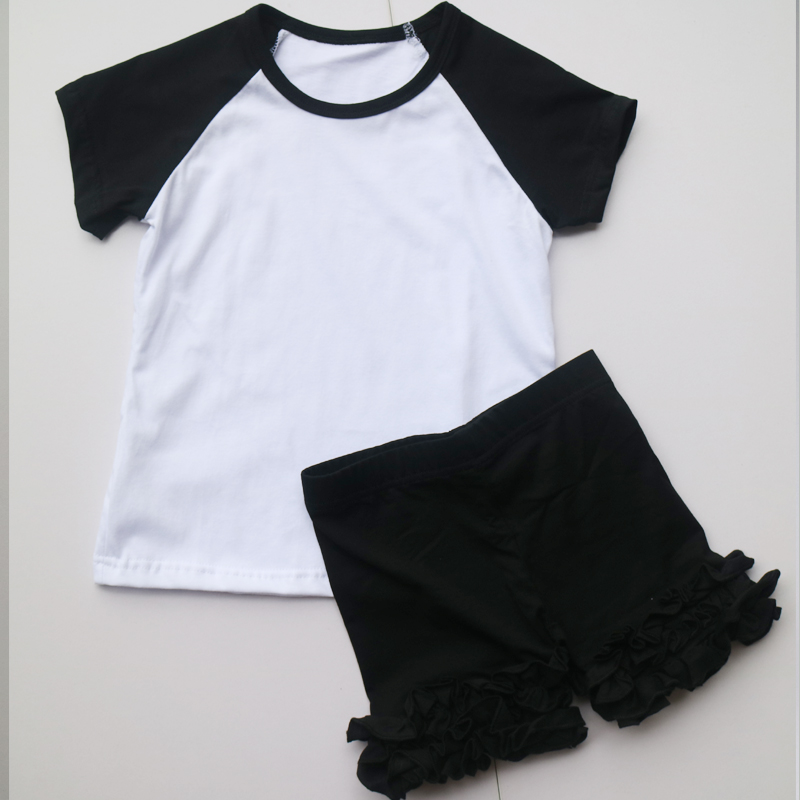 baby girl ruffle shorts 2pcs selling black shorts ruffled children raglan t-shirt basbeall toddle t-shirts sets wholesale short 2pcs children outfit clothes kids baby girl off shoulder cotton ruffled sleeve tops striped t shirt blue denim jeans sunsuit set