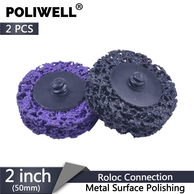 POLIWELL 2PCS 2 Inch 50mm Quick Change Roloc Abrasive Disc Easy Strip & Clean Grinding Wheels For Surface Rust Removal Polishing