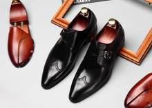 905977971aa46 Rzeźbione akcentem buty męskie kupon na prawdziwej skóry wskazał palce  klamra ślubne inteligentne obuwie letnie oddychające