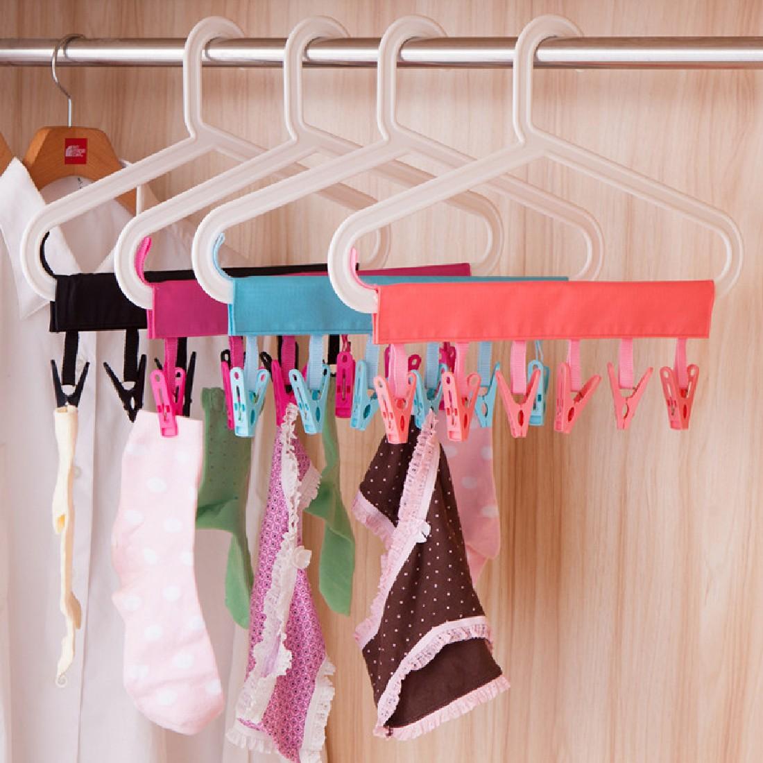 New Dacron Plastic Portable Bathrooms Cloth Hanger Rack Clothespin Business Travel Portable Folding Cloth Hanger Clips