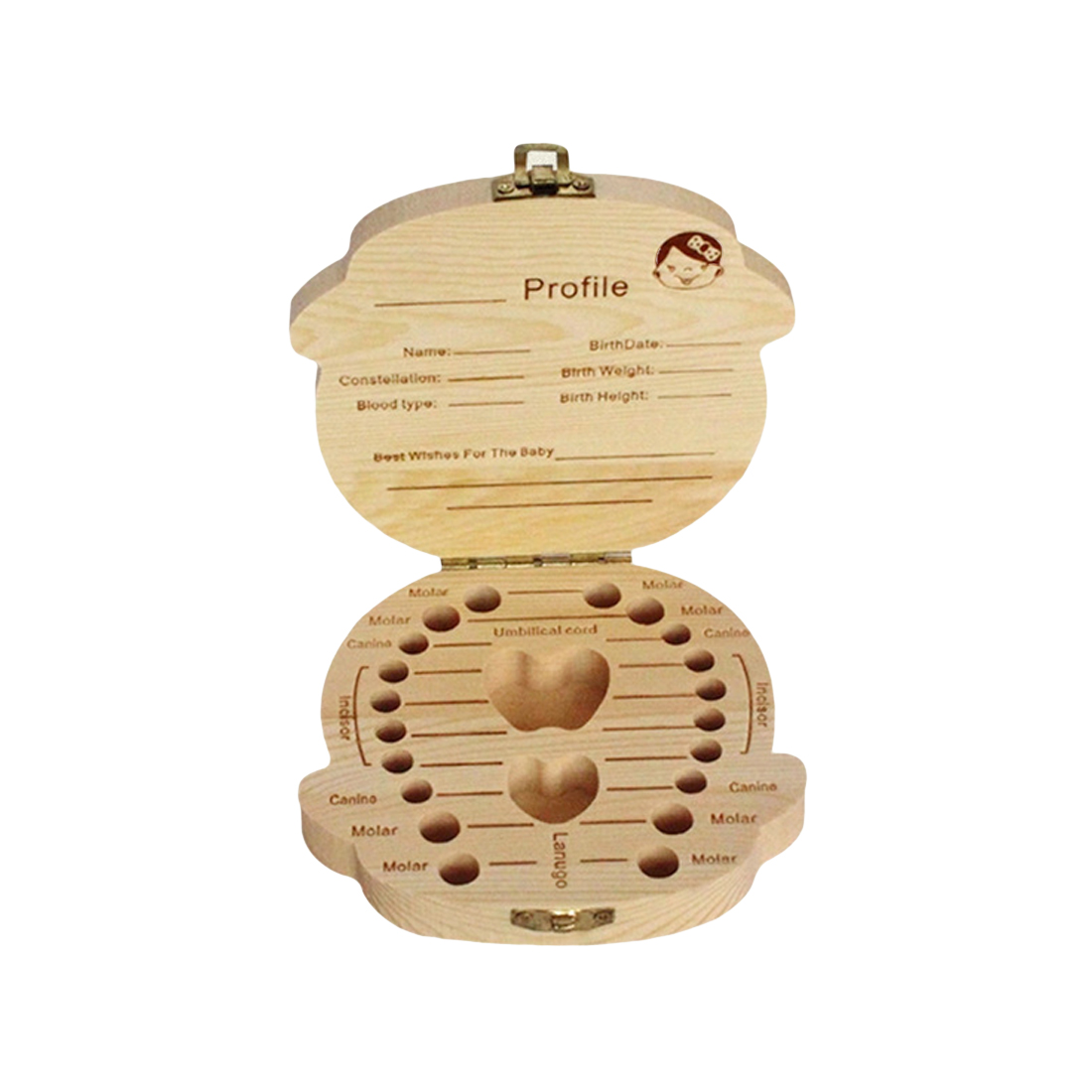 Welcomed English Wooden Baby Tooth Box Organizer Milk Tooth Storage Box For Boy Girl Save Teeth Umbilical Cord