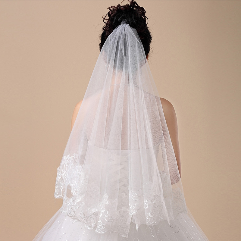 Free Shipping 150cm Girl Women Bridal Short Wedding Veil  White One Layer Lace Flower Edge Appliques