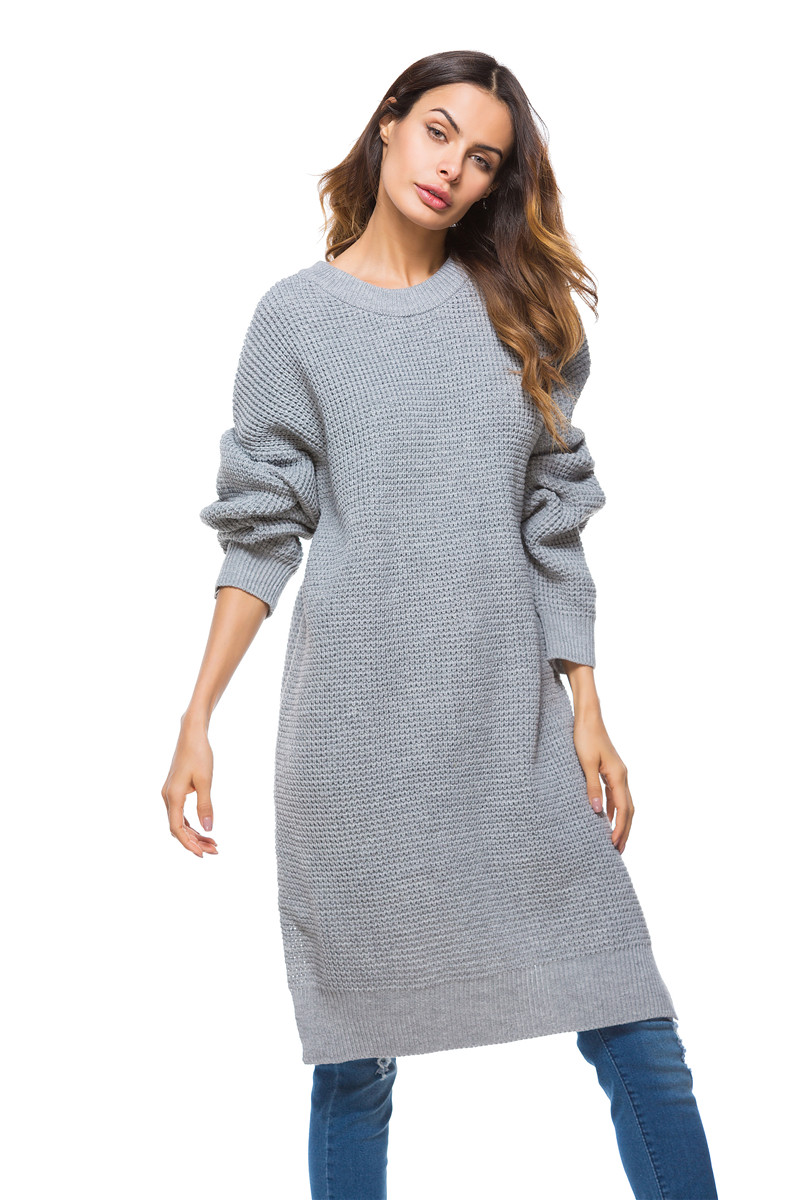 Fall Winter Vintage Mustard Side Slit Crochet Sweater Dress for Women Cute Ladies Retro Cosy Loose Split Pullover One Size 16