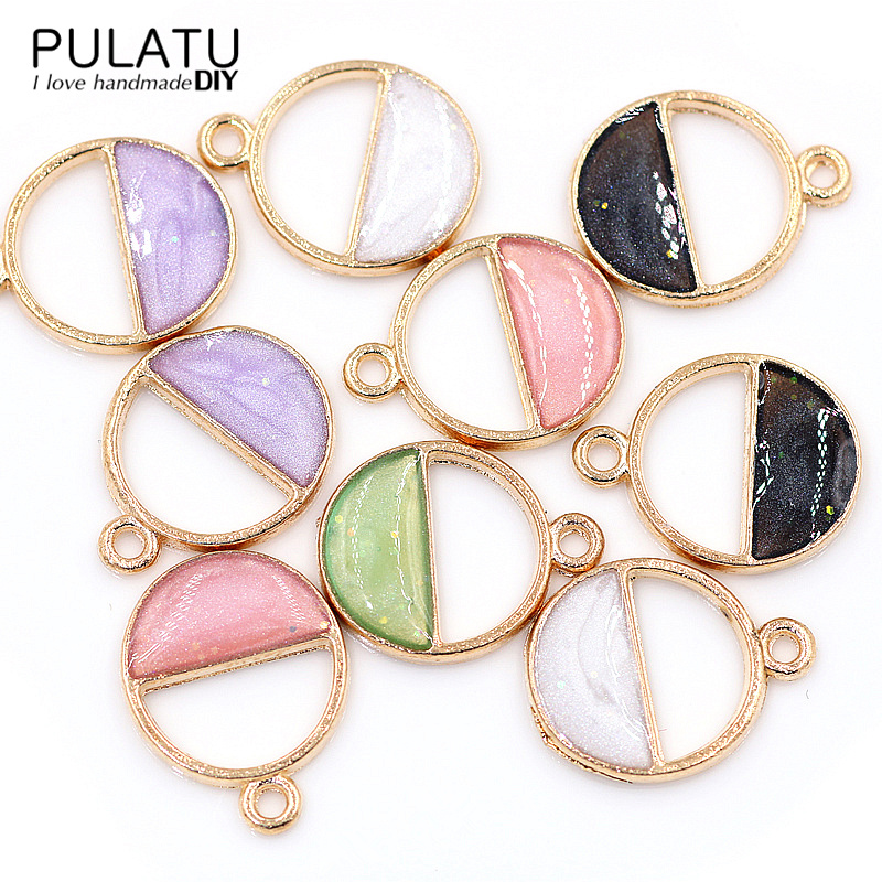 6pclot Geometry Enamel Pendants for Necklace Alloy Material Handmade Earrings Charms Bracelet DIY Jewelry Making Accessories