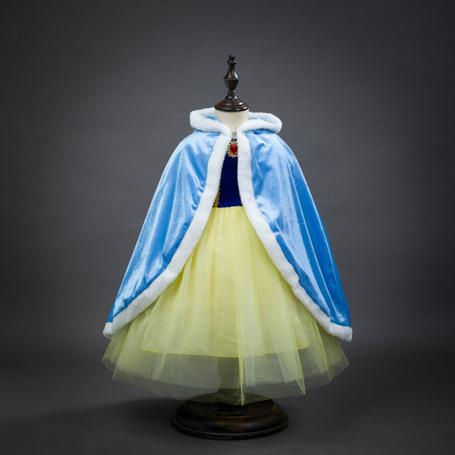 Fashion princess elsa anna halloween costume for 6 years to 10 years kids birthday capes girls