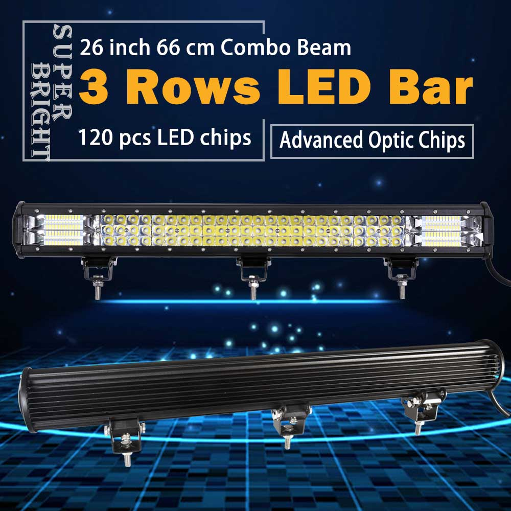 цена на Real Power 26 Inch 3 Rows Led Work light Led Bar for Off Road 4x4 4WD ATV UTV SUV Driving Light Truck Led Light Bar Auto Lamp