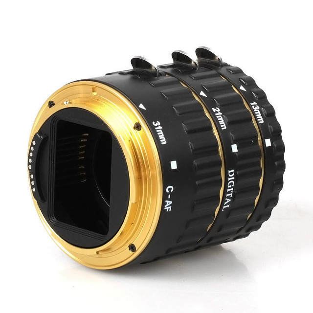 SUPON Metal Mount Auto Focus AF Macro Extension Tube/Ring for Kenko CANON EF-S Lens Golden